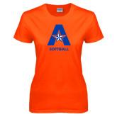 Ladies Orange T Shirt-Softball