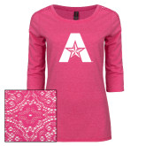 Ladies Dark Fuchsia Heather Tri Blend Lace 3/4 Sleeve Tee-A with Star