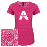 Ladies Dark Fuchsia Heather Tri-Blend Lace Tee-A with Star