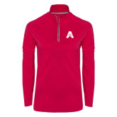 Ladies Pink Raspberry Sport Wick Textured 1/4 Zip Pullover-A with Star