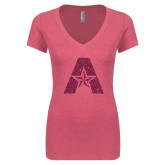 Next Level Ladies Vintage Pink Tri Blend V-Neck Tee-A with Star Hot Pink Glitter