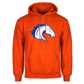 Orange Fleece Hoodie-Horse Head