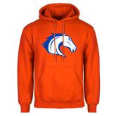 Orange Fleece Hoodie-Horse Head