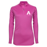 Ladies Syntrel Interlock Raspberry 1/4 Zip-A with Star