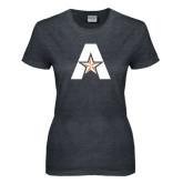 Ladies Dark Heather T Shirt-A with Star