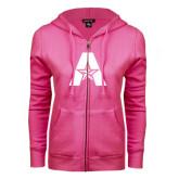 ENZA Ladies Fuchsia Fleece Full Zip Hoodie-A with Star