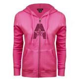 ENZA Ladies Fuchsia Fleece Full Zip Hoodie-A with Star Hot Pink Glitter