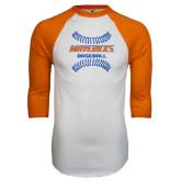 White/Orange Raglan Baseball T Shirt-Baseball inside Laces