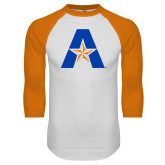 White/Orange Raglan Baseball T Shirt-A with Star