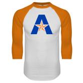 White/Orange Raglan Baseball T Shirt-A with Star