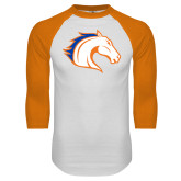 White/Orange Raglan Baseball T Shirt-Horse Head
