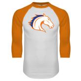 White/Orange Raglan Baseball T Shirt-Horse Head