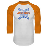 White/Orange Raglan Baseball T Shirt-Baseball Seams