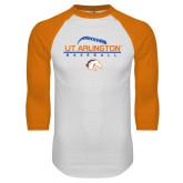 White/Orange Raglan Baseball T Shirt-Baseball Seams on Top