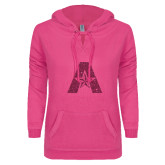 ENZA Ladies Hot Pink V-Notch Raw Edge Fleece Hoodie-A with Star Hot Pink Glitter