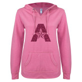 ENZA Ladies Hot Pink V Notch Raw Edge Fleece Hoodie-A with Star Hot Pink Glitter