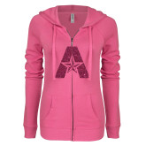 ENZA Ladies Hot Pink Light Weight Fleece Full Zip Hoodie-A with Star Hot Pink Glitter