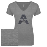 ENZA Ladies Graphite Melange V Neck Tee-A with Star Graphite Glitter