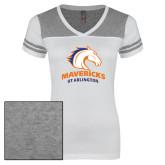 Ladies White/Heathered Nickel Juniors Varsity V Neck Tee-Primary Mark