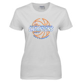 Ladies White T Shirt-2017 Mens Basketball Champions Basketball