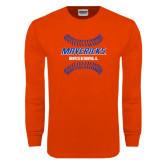 Orange Long Sleeve T Shirt-Baseball inside Laces