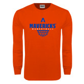 Orange Long Sleeve T Shirt-Basketball Geo Net
