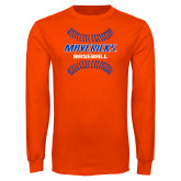 Orange Long Sleeve T Shirt-Baseball Seams