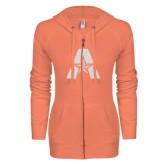 ENZA Ladies Coral Light Weight Fleece Full Zip Hoodie-A with Star White Soft Glitter