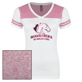 Ladies White/Bright Pink Juniors Varsity V Neck Tee-Primary Mark
