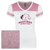 Ladies White/Bright Pink Juniors Varsity V Neck Tee-Primary Mark