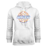 White Fleece Hoodie-2016-17 Regular Season Champions - Mens Basketball Lined Ball