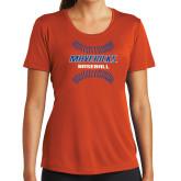 Ladies Performance Orange Tee-Baseball Seams