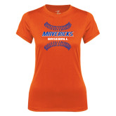 Ladies Syntrel Performance Orange Tee-Baseball inside Laces