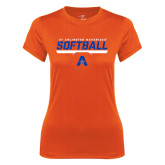 Ladies Syntrel Performance Orange Tee-Softball Shelf