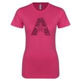 Ladies SoftStyle Junior Fitted Fuchsia Tee-A with Star Hot Pink Glitter