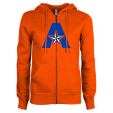 ENZA Ladies Orange Fleece Full Zip Hoodie-A with Star
