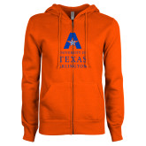 ENZA Ladies Orange Fleece Full Zip Hoodie-University of Texas Arlington Stacked