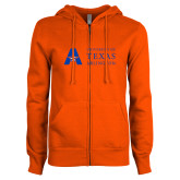 ENZA Ladies Orange Fleece Full Zip Hoodie-University of Texas Arlington