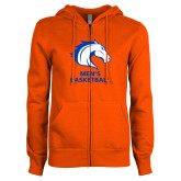 ENZA Ladies Orange Fleece Full Zip Hoodie-Mens Basketball