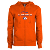 ENZA Ladies Orange Fleece Full Zip Hoodie-Baseball Seams on Top