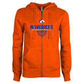 ENZA Ladies Orange Fleece Full Zip Hoodie-Basketball Net