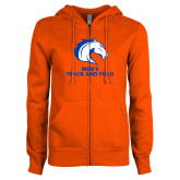 ENZA Ladies Orange Fleece Full Zip Hoodie-Mens Track and Field