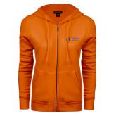 ENZA Ladies Orange Fleece Full Zip Hoodie-Secondary Mark