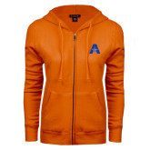 ENZA Ladies Orange Fleece Full Zip Hoodie-A with Star