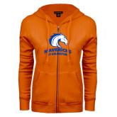 ENZA Ladies Orange Fleece Full Zip Hoodie-Mavericks