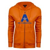 ENZA Ladies Orange Fleece Full Zip Hoodie-Mens Basketball