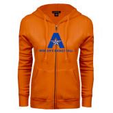 ENZA Ladies Orange Fleece Full Zip Hoodie-Womens Basketball