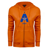ENZA Ladies Orange Fleece Full Zip Hoodie-Golf