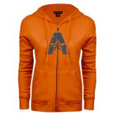 ENZA Ladies Orange Fleece Full Zip Hoodie-A with Star Graphite Glitter