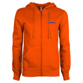 ENZA Ladies Orange Fleece Full Zip Hoodie-UTA Mavericks stacked
